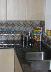 Seattle Glass Tile Backsplash & Granite Slab Countertop Installation